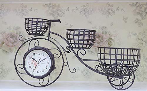 GYAO Pflanzenständer Idyllische doppelseitige Tischuhr Kreative Schmiedeeisen Auto Styling Stille Sweeping Wohnzimmer Esstisch Uhr Amerikanische Blumenkorb Uhr -