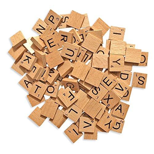 100Holz Fliesen Ersatz Buchstaben für Board Games, Hochzeit Rahmen und Wand Kunst von trimmen (Großhandel Dekor Vintage)