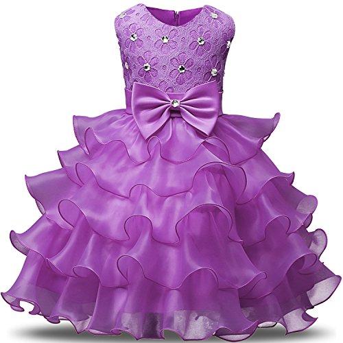 NNJXD Mädchen Kleid Kinder Rüschen Spitze Party Brautkleider Größe(110) 3-4 Jahre Lilac colour