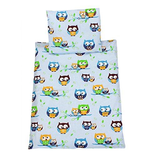 TupTam Baby Kinderwagen Bettwäsche Set Wiegenset 60x75 4 tlg, Farbe: Eulen 2 Blau, Größe: ca. 60 x 75 cm