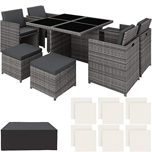 TecTake 403082 Poly Rattan Aluminium 4+1+4 Sitzgruppe Cube 4 Stühle 1 Tisch 4 Hocker + Schutzhülle & Edelstahlschrauben, als Würfel verstaubar, grau