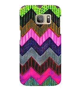 Fiobs Designer Back Case Cover for Samsung Galaxy S7 Edge :: Samsung Galaxy S7 Edge Duos :: Samsung Galaxy S7 Edge G935F G935 G935Fd (Colorful Patterns Designs Black Zig Zag)