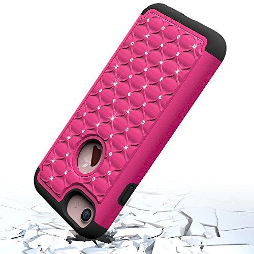 iPhone 7 Hülle, CMID Handy Hard Cover Hybrid Dual Layer Silikon Schutzhülle mit Glitter Kristall Diamant für iPhone 7 (Violett+Schwarz) Hot Pink+Schwarz