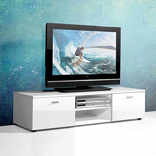 TV Unterschrank in Weiß Hochglanz 120 cm Pharao24