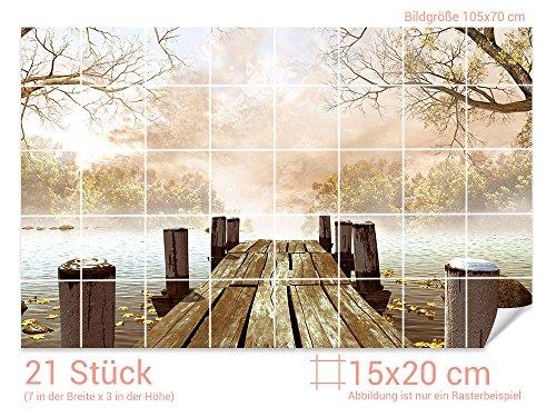 Graz Design 761681_15x20_70 Fliesenaufkleber See/Steg/Bäume für Kacheln   Wand-Deko für Bad/Küchen-Fliesen (Fliesenmaß: 15x20cm (BxH)//Bild: 105x70cm (BxH))