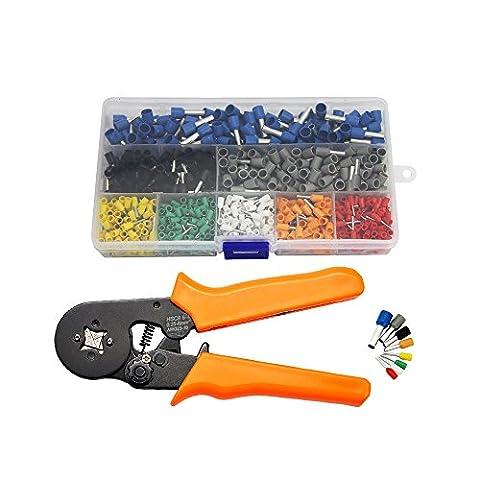 Zilong 800 Stecker Crimpzange Set, Crimper Zange mit 0.25-6.0mm Crimp Tool Adernendhülsen, Crimpwerkzeug set für isolierte, unisolierte Drahtseil-Ratschenkabelschuhe Kabelschuhe