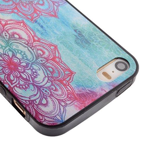 iPhone SE Coque,iPhone 5S Case,iPhone 5 Cover - Felfy Transparent Ultra Light Mince Slim Gel Souple Soft Flexible TPU Frame & Acrylic Back Cas Motif Couvrir Protector Housse Anti Scratch Couverture Co Totems de Fleurs