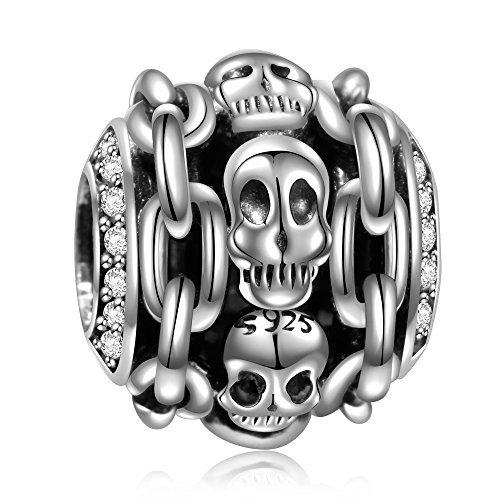 925Sterling Silber Skull Totenkopf Skelett Halloween Charms Fit Pandora Geschenke für Frauen Mädchen (Skelett Leben Halloween Größe)
