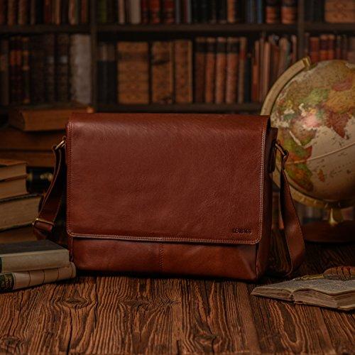 LEABAGS Oxford - Borsa Messenger in vera pelle di bufalo - Look vintage - Noce moscata Burgundy