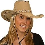 Cappello COWBOY COWGIRL hat cappellino scamosciato carnevale festa party HUT5[KAKI]