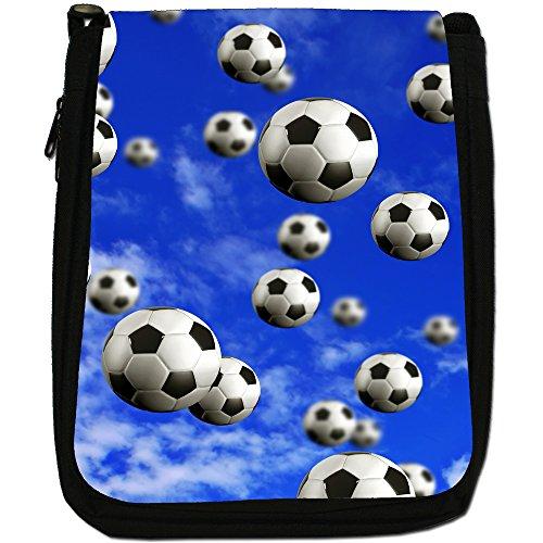 Its Raining-Borsa a tracolla in tela, colore: nero, taglia: M Its Raining Football Balls
