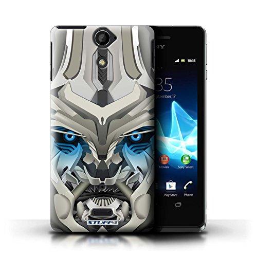 Kobalt® Imprimé Etui / Coque pour Sony Xperia V/LT25i / Opta-Bot Bleu conception / Série Robots Mega-Bot Bleu