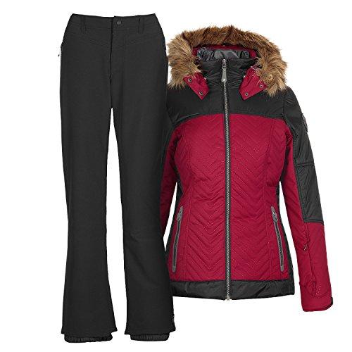 Damen Skianzug Frauen Skijacke Sabita rot + Skihose Jilia schwarz - Gr. 44
