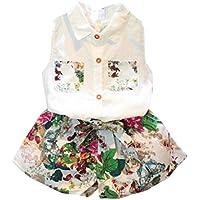 ❥Elecenty Bekleidungssets Prinzessin Mädchen kleidung Outfit Set T-Shirt Hemd Tops+Blumenmuster Shorts kurze Hose Sommer-Outfit Kleidung Tracksuit Kapuzenpullover Hoodie Pullover