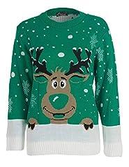 Idea Regalo - XpoZed Moda - Maglia - Donna Green Reindeer M / L