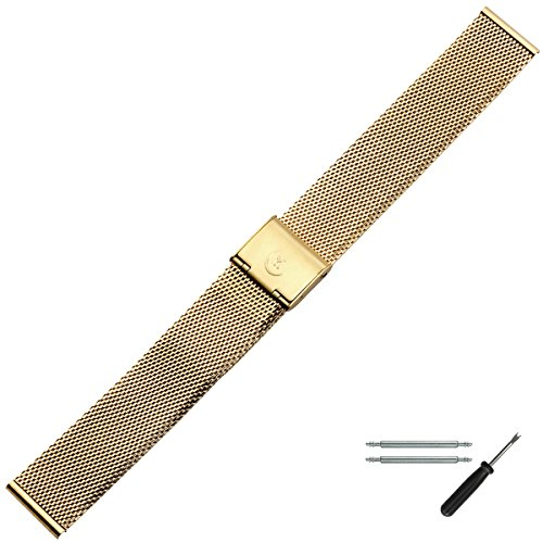 MARBURGER Uhrenarmband 16mm Edelstahl Gold - Mesh/Milanaise - Uhrband Set 84701160020