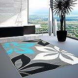 Moderner Designer Teppich in aktuellen Wohn Farben Öko Tex 100 zertifiziert MOD-1671-blume türkis grau schwarz weiss 80x150 cm