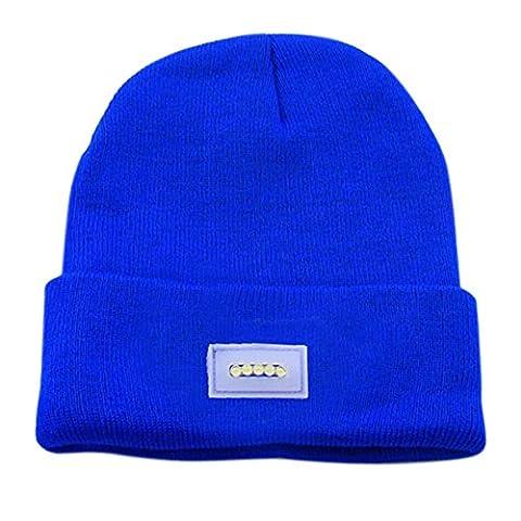 Ebilun 5LED Strick Warm Hut Hände Freie Taschenlampe Cap für Klettern Angeln Radfahren Blau