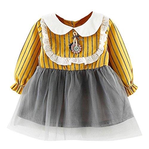 ider Kleinkind Kinder, DoraMe Baby Mädchen Mesh Gaze Tutu Kleid Langarm Party Kleid 2018 Neue Mode Baumwolle Lässig Kleid für 6-24 Monate (Gelb, 18 Monate) (Halloween-kostüme Für Mollige Mädchen)