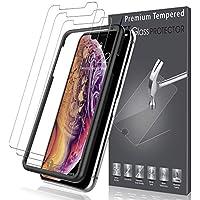 LK Pellicola Protettiva per iPhone XS/iPhone X [3 Pack], L&K [Installazione Semplice Cornice allineamento] Protezione Schermo Vetro Temperato Screen Protector [Garanzia di Sostituzione a Vita]