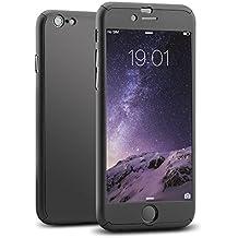 Mothca iPhone 6 Plus 6S Plus Funda Case,Cuerpo Completo Ultra Slim PC Duro Cover Caso+Vidrio Templado Protector de Pantalla 3 en 1 Diseño Frente Cubrir&Back Case&Vidrio Película Lujo Protección Completa(6 plus/6s plus,Negro)