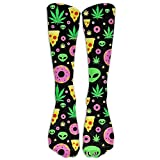 Calcetines Altos Alien Donut Pot Leaf Weed Pizza Adult Cotton Knee High Soccer Sports Team Tube Socks Long Stockings Athletic Sport Tube Socks (65CM)