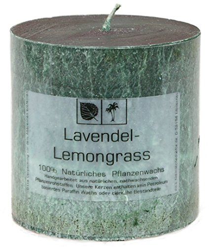 Marmorierte Natur Kerze 7,5 x 7,5 cm aus Pflanzenwachs, Duftnote LAVENDEL LEMONGRASS, ungebleichter Docht