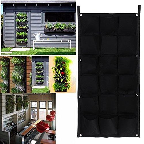 Demiawaking 4/6/12/18-Vaso da fiori in poliestere per appendere a parete per piante da giardino verticali, fiori, Living-Vaso da interni, feltro, nero, 18-Pocket