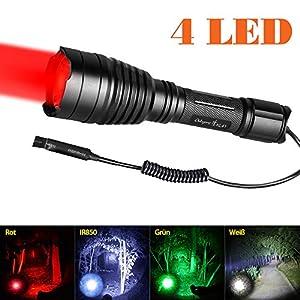 Odepro KL41 Plus LED-Taschenlampe mit Rotlicht Grünlicht Weißlicht IR850 Licht und Kabelfernbedienung von Yeguang technology auf Outdoor Shop