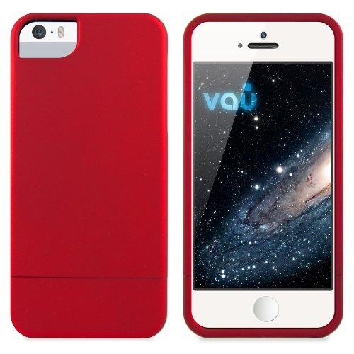 vau Snap Case Slider Hülle - matt rot - zweigeteiltes Hard-Case kompatibel zu Apple iPhone 5, 5S und iPhone SE (Harte Handyhülle innen weich gefüttert) Apple Iphone Snap Rot