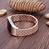#3: Rose Gold : IGEMY Steel Bead Style Bracelet Smart Watch Band Strap For Fitbit Charge 2 (2016)
