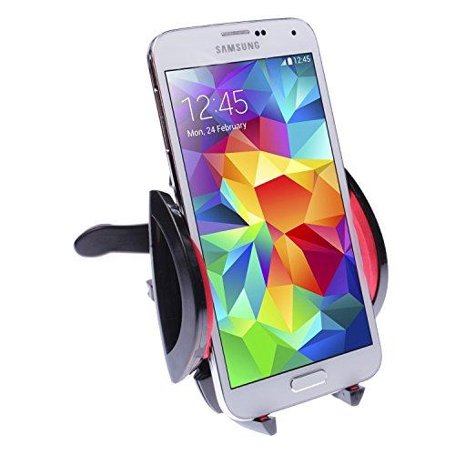 """Preisvergleich Produktbild wortek Universal High End KFZ Auto Lüftungshalterung bis ca 7"""" Displays Kugelgelenk,  Schutz Schaum,  variable Feder + individuelle Auflagefläche Schwarz Rot für Apple iPhone 6 / iPhone 6 Plus,  Samsung Note 4,  Samsung S6 / S6 Edge LG G3,  Sony Z3 uvm."""
