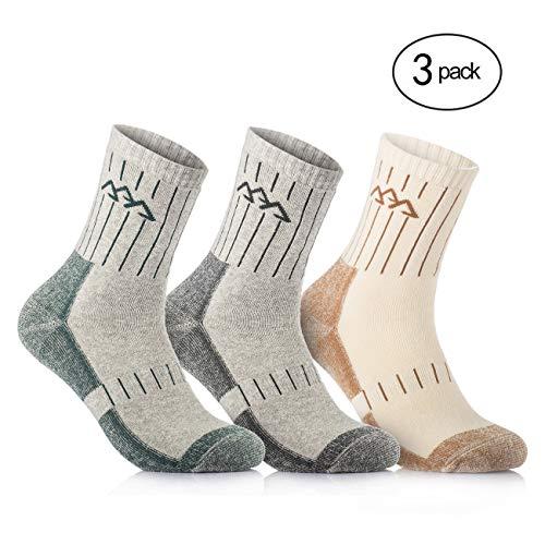 Baumwolle Socken Wandern (Overmont 3 Paar Baumwolle Herren Socken Sportsocken Funktionssocken Outdoorsocken (41-46) Schnell Trocknend für Camping Klettern Wandern Leichtathletik Skifahren Khaki/Grün/Grau)