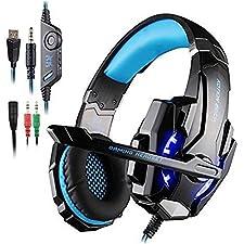 ieGeek Kotion EACH G9000 USB Estéreo Auriculares de Juego de Rey con Micrófono Control de Volumen Luz LED Para PC Juego, Headset Gaming 3.5 mm, Cancelación de Ruido Sobre-Oído, Azul y Negro
