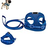 Comficent Hundegeschirr Einstellbar Weste Brustgeschirr Sicher Kontrolle Softgeschirr Leine Halsband Geschirr Set für Hunde Katze Haustier (Blau)
