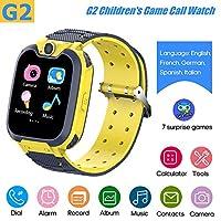 ساعة ذكية للأطفال من G2 ساعة ذكية للأطفال مدمجة 7 ألعاب لغز ساعة هاتف مدمجة 5 لغات (الإنجليزية/الفرنسية/الألمانية/الإسبانية/الإيطالية) اصفر