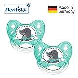 Dentistar® Silikon Schnuller 2er Set inkl. 2 Schutzkappen - Nuckel Größe 1, 0-6 Monate, zahnfreundlich und kiefergerecht | Maulwurf