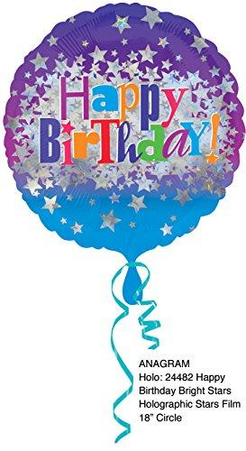Amscan Happy Birthday Bright Stars Standard HX Folie Ballons (Happy Halloween Und Happy Birthday)