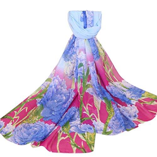 Transer® Damen Mädchen Elegant Mode Lange Schal Tücher Wrap Chiffon Drucken Blume Frühling Herbst Winter Stola 155x50cm (Himmelblau) (Lange Schal Drucken)