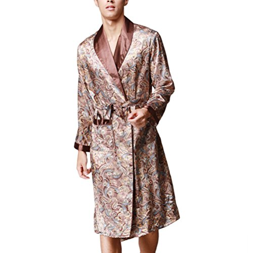 Zhhlinyuan Men's Floral Silk Lightweight Dressing Gown Loungewear Nightwear brown