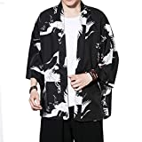 Sommer Cloak Cardigan Japan Haori Kimono Damen Herren Jacket Jacke Casual Chinese Wesentlich Style,Hippie Kleidung (Color : Black White, Size : M)