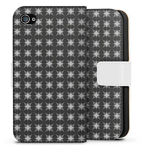 Apple iPhone X Silikon Hülle Case Schutzhülle Muster Schwarz Grau Geometrisch Sideflip Tasche weiß