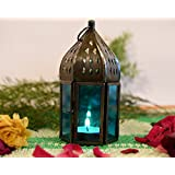 Collectible India Metal Blue Glass Lantern Candle Holder Moroccan Antique Design Wall Hanging Lamp Table Top Tealight Candle Holders Birthday Parties A Rustic Wedding Centerpiece Decor
