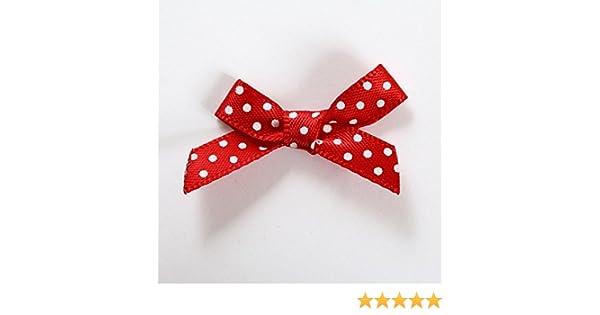 Creafirm 25 Mini Noeuds /à Pois Couleur Rouge