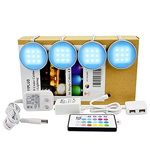 LED Under Cabinet Lighting,Pack of 4 Puck Lights with 24Key Remote 12V Adapter Controller 5050 RGB Indoor for Kitchen ,Closet ,Party and Home Decoration Use.Pangton Villa