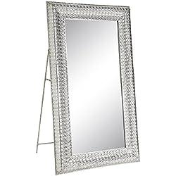 Espejo de pie de metal plateado romántico para dormitorio de 90 x 160 cm Arabia - Lola Home