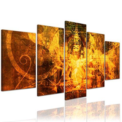Bilderdepot24 Kunstdruck - Buddha Urban - Bild auf Leinwand - 100x50 cm 5 teilig - Leinwandbilder - Bilder als Leinwanddruck - Wandbild Geist und Seele - Zen Buddhismus