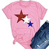 GRMO Womens Summer Stars Casual Crewneck Short Sleeve Top T-Shirt Blouse Pink 3XS