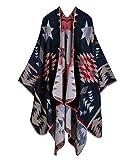 Aivtalk Grand Tartan Femme Poncho Châle Foulard Couverture Chaud pour Automne Hiver - Motif