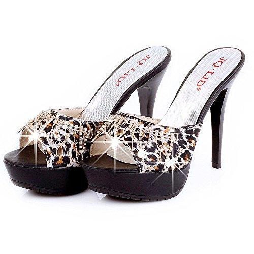 ZYUSHIZ Weibliche Sandalen Hausschuhe High-Heel Flash synthetischer Diamant 36